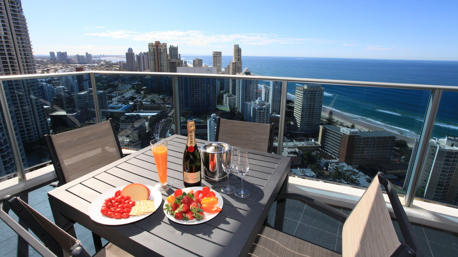 Holiday Holiday - H Residences above Surfers Paradise ocean view from balcony of high floor
